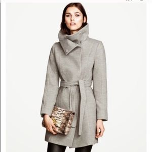 H&M WRAP WOOL PEA COAT JACKET GRAY SIZE 2